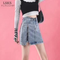 skirt Summer 2021 S M L XL wathet Short skirt commute High waist A-line skirt Solid color Type A LSKS6115 51% (inclusive) - 70% (inclusive) Denim Lanskath cotton Asymmetric pocket, button, zipper and split Korean version Cotton 70% polyester 30% Pure e-commerce (online only)