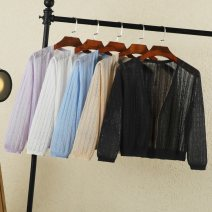 Wool knitwear Summer 2021 M,L,XL,2XL,3XL,4XL Apricot, sky blue, lavender, white, black, pink three quarter sleeve singleton  Cardigan nylon 30% and below have cash less than that is registered in the accounts ultrathin commute easy V-neck routine Solid color Single breasted Korean version Rimehouse