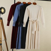 Dress Autumn 2021 Black, Burgundy, blue, apricot M Mid length dress singleton  Long sleeves commute Half high collar Elastic waist Solid color Socket A-line skirt routine Others 18-24 years old Type A Rimehouse Korean version 30% and below knitting nylon