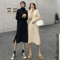 Dress Autumn of 2019 Versatile black apricot XS S average Mid length dress singleton  Long sleeves commute High collar High waist Solid color Socket other routine Others 18-24 years old Type H The world is like dust Korean version 10.1-3 More than 95% knitting other