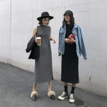 Dress Autumn of 2019 Dark grey black XS S average Miniskirt singleton  Sleeveless commute stand collar High waist Solid color Socket A-line skirt other Others 18-24 years old Type A The world is like dust Korean version 8.27-9 More than 95% knitting other Triacetate fiber (triacetate fiber) 100%
