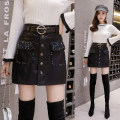 skirt Winter of 2018 S M L XL 2XL 3XL 4XL black Short skirt Versatile High waist A-line skirt Solid color Type A 18-24 years old Jian 5021 More than 95% other Dian tou other Pocket button sequins Other 100% Pure e-commerce (online only) 161g / m ^ 2 (including) - 180g / m ^ 2 (including)