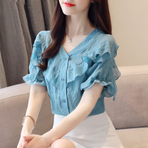 Lace / Chiffon Summer of 2019 Malachite blue S M L XL 2XL three quarter sleeve commute Socket singleton  easy Super short V-neck Solid color Lotus leaf sleeve 25-29 years old New partner Korean version Other 100.00% Pure e-commerce (online only)