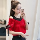 Lace / Chiffon Summer of 2019 Red, black, white S M L XL 2XL Short sleeve commute Socket Two piece set Straight cylinder Regular Crew neck Solid color routine 25-29 years old New partner NS3301 Bow tie yarn net Korean version Other 100.00% Pure e-commerce (online only)
