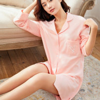 Pajamas / housewear set female leomuna S M L Light powder cotton Long sleeves Simplicity Leisure home spring Thin money Small lapel Solid color youth cotton Cotton 100% Spring of 2019 Middle-skirt