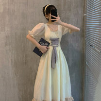 Dress Summer 2021 Picture color S M L XL longuette singleton  Short sleeve commute Crew neck High waist Solid color A-line skirt puff sleeve Others 18-24 years old Yan Chen Korean version More than 95% other Other 100% Pure e-commerce (online only)