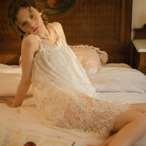 Nightdress Mrs song Milky white, black F sexy camisole pajamas Short skirt Solid color youth One word collar nylon Hollowing out More than 95% SY109