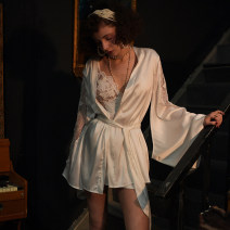 Nightgown / bathrobe Mrs song female M,S,L Cream white, black, white nightdress, black nightdress, white 2-piece set, black 2-piece set Thin money sexy Polyester (polyester) 61% (inclusive) - 80% (inclusive) Short (Mid Thigh to knee) other Plants and flowers SP005 Embroidery