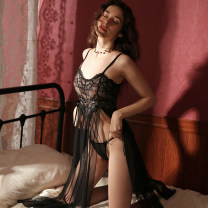 Nightdress Mrs song Girl naked powder, sexy black, black long robe Average size sexy camisole pajamas longuette Solid color youth V-neck nylon Hollowing out 81% (inclusive) - 95% (inclusive) Mesh fabric SY144