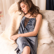 Nightdress Mrs song Black, deep lake blue One size fits all (1 nightdress only) sexy camisole pajamas Middle-skirt winter Solid color youth V-neck Polyester (polyester) Hollowing out 81% (inclusive) - 95% (inclusive) velvet SY043