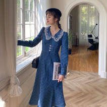 Dress Autumn 2020 prussian blue  S,M,L longuette singleton  Long sleeves commute Doll Collar High waist lattice Single breasted One pace skirt shirt sleeve Others 18-24 years old Type A Retro Embroidery, stitching, buttons More than 95% Denim cotton