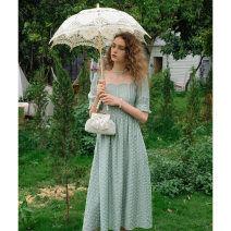 Dress Summer 2021 S,M,L longuette singleton  Short sleeve commute square neck High waist Solid color zipper A-line skirt puff sleeve Others 18-24 years old Type A Retro Embroidery, waves More than 95% Poplin polyester fiber