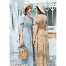 Dress Summer of 2019 S,M,L longuette singleton  Short sleeve commute Crew neck High waist stripe zipper Big swing puff sleeve Others 18-24 years old Type A Retro 51% (inclusive) - 70% (inclusive) knitting cotton