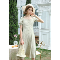 Dress Summer of 2019 S,M,L longuette singleton  Short sleeve commute square neck High waist Dot Single breasted A-line skirt puff sleeve Others 18-24 years old Type A Retro Auricularia auricula, lace up, stitching, button 91% (inclusive) - 95% (inclusive) other polyester fiber
