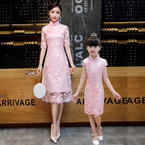 Parent child fashion Mom - Champagne - embroidered peony - mid long Mom - Pink - embroidered peony - mid long girl - Pink Short Sleeve - embroidered peony girl - Champagne short sleeve - embroidered Peony Women's dress Women and men Tinierfield qz52-8 summer Chinese style Thin money Broken flowers