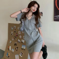 Dress Spring 2021 Grey black white S M L XL 2XL Middle-skirt singleton  Short sleeve commute Hood High waist Solid color zipper routine 18-24 years old Myshangyi cabinet Korean version Pocket zipper 71% (inclusive) - 80% (inclusive) polyester fiber Polyester 74.5% cotton 25.5%