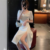 Dress Summer 2021 Black and white S M L longuette singleton  Short sleeve commute square neck High waist Socket A-line skirt 25-29 years old John Ratzenberger  A4457 More than 95% other Other 100% Pure e-commerce (online only)