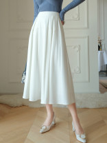 skirt Summer 2021 S M L White black Mid length dress High waist A-line skirt Solid color Type A 25-29 years old More than 95% John Ratzenberger  other Other 100% Pure e-commerce (online only)