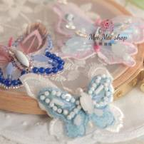 Pearl / diamond / flower and other accessories TANGSDECO White butterfly 5 * 4cm Pink Butterfly 6 * 4.5cm blue butterfly 5 * 4cm