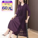 Dress Spring 2020 violet Average size (90-150 kg) longuette Fake two pieces three quarter sleeve commute Crew neck Loose waist Solid color Socket A-line skirt routine Others 35-39 years old Type A Ol style More than 95% polyester fiber