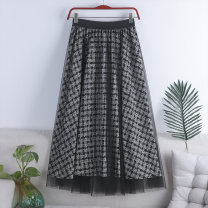 skirt Spring 2021 Average size White, dark blue, khaki longuette Versatile High waist A-line skirt lattice Type A 18-24 years old 71% (inclusive) - 80% (inclusive) other polyester fiber Screen, printing 181g / m ^ 2 (including) - 200g / m ^ 2 (including)