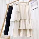 skirt Spring 2021 Average size Apricot, white, black Mid length dress Versatile High waist A-line skirt Solid color Type A 18-24 years old 71% (inclusive) - 80% (inclusive) other polyester fiber Lotus leaf edge 201g / m ^ 2 (including) - 250G / m ^ 2 (including)