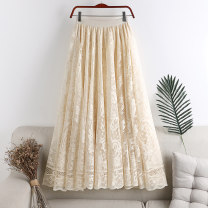 skirt Spring 2021 Average size Apricot, black, white Mid length dress Versatile High waist A-line skirt Solid color Type A 18-24 years old 71% (inclusive) - 80% (inclusive) other polyester fiber Cut out, lace 201g / m ^ 2 (including) - 250G / m ^ 2 (including)