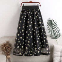 skirt Summer 2020 Average size Yellow daisy, pink daisy, Red Daisy Mid length dress Versatile High waist A-line skirt Decor Type A 18-24 years old 71% (inclusive) - 80% (inclusive) other polyester fiber printing 201g / m ^ 2 (including) - 250G / m ^ 2 (including)