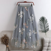 skirt Summer 2020 Average size Grey, apricot Mid length dress Versatile High waist A-line skirt Solid color Type A 18-24 years old 71% (inclusive) - 80% (inclusive) other polyester fiber Embroidery 181g / m ^ 2 (including) - 200g / m ^ 2 (including)