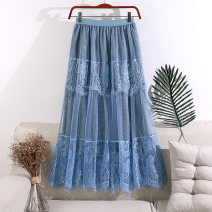 skirt Spring 2020 Average size Blue, apricot, pink, white, black Mid length dress Versatile High waist A-line skirt Solid color Type A 18-24 years old 71% (inclusive) - 80% (inclusive) Lace polyester fiber Gouhua hollow, gauze net, splicing, lace 251g / m ^ 2 (including) - 300g / m ^ 2 (including)