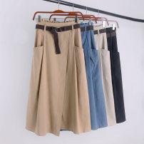 skirt Autumn of 2019 Average size Mid length dress commute High waist Irregular Solid color Type A 18-24 years old other polyester fiber Pocket, belt Korean version