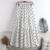 skirt Summer 2020 Average size White, black Mid length dress Versatile High waist A-line skirt Dot Type A 18-24 years old 71% (inclusive) - 80% (inclusive) other polyester fiber 141g / m ^ 2 (including) - 160g / m ^ 2 (including)