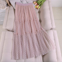 skirt Spring 2020 Average size Apricot, blue, black, pink Mid length dress Versatile High waist Splicing style Solid color Type A 18-24 years old 91% (inclusive) - 95% (inclusive) polyester fiber Mesh, stitching