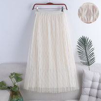 skirt Spring 2021 Average size Apricot, white, black Mid length dress Versatile High waist Pleated skirt Solid color Type A 18-24 years old 71% (inclusive) - 80% (inclusive) other polyester fiber fold 181g / m ^ 2 (including) - 200g / m ^ 2 (including)
