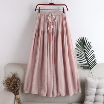skirt Summer 2020 Average size Pink, blue, white, apricot, black Mid length dress Versatile High waist A-line skirt Solid color Type A 18-24 years old 71% (inclusive) - 80% (inclusive) other hemp bow 141g / m ^ 2 (including) - 160g / m ^ 2 (including)