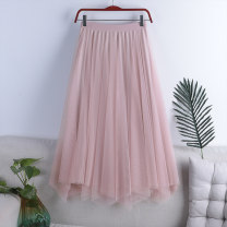 skirt Spring 2021 Average size Apricot, black, pink, grayish blue Mid length dress Versatile High waist Pleated skirt Solid color Type A 18-24 years old HL-2018 71% (inclusive) - 80% (inclusive) other polyester fiber Gauze 181g / m ^ 2 (including) - 200g / m ^ 2 (including)