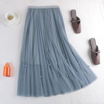 skirt Spring 2021 Average size Apricot, black, pink, grayish blue Mid length dress Versatile High waist Pleated skirt Solid color Type A 18-24 years old 71% (inclusive) - 80% (inclusive) other polyester fiber Nail bead, yarn net 181g / m ^ 2 (including) - 200g / m ^ 2 (including)