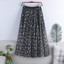 skirt Spring 2021 Average size Pink, apricot, black, grayish blue longuette Versatile High waist Pleated skirt Solid color Type A 18-24 years old 71% (inclusive) - 80% (inclusive) other polyester fiber Sequins, gauze 181g / m ^ 2 (including) - 200g / m ^ 2 (including)