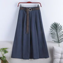 skirt Spring 2021 Average size White, apricot, light blue, dark blue, black, pink, turquoise, light green Mid length dress Versatile High waist A-line skirt Solid color Type A 18-24 years old 71% (inclusive) - 80% (inclusive) other polyester fiber Pleating
