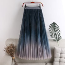 skirt Spring 2021 Average size Cyan pink gradient, gray blue gradient, blue white gradient, black gradient Mid length dress Versatile High waist Pleated skirt other Type A 18-24 years old 71% (inclusive) - 80% (inclusive) other polyester fiber Sequins, gauze
