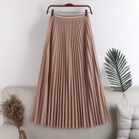 skirt Autumn 2020 Average size Khaki, blue, grey, Burgundy, black Mid length dress Versatile High waist A-line skirt Solid color Type A 18-24 years old 71% (inclusive) - 80% (inclusive) other polyester fiber fold 181g / m ^ 2 (including) - 200g / m ^ 2 (including)