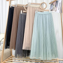 skirt Spring 2021 Average size Green, khaki, apricot, grey, black Mid length dress Versatile High waist A-line skirt Solid color Type A 18-24 years old 71% (inclusive) - 80% (inclusive) other polyester fiber Pleat, web 201g / m ^ 2 (including) - 250G / m ^ 2 (including)