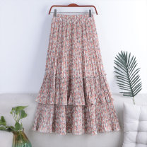 skirt Spring 2021 Average size Red broken flower 1, black broken flower 2, white broken flower 3, green broken flower 4, white yellow broken flower 5, white broken flower 6, black yellow broken flower 7, apricot blue broken flower 8, apricot pink broken flower 9 Mid length dress Versatile High waist