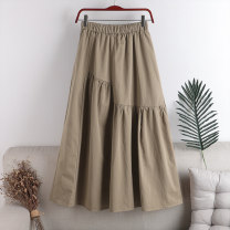 skirt Spring 2021 Average size Khaki, black Mid length dress Versatile High waist A-line skirt Solid color Type A 18-24 years old 71% (inclusive) - 80% (inclusive) other cotton Fold, splice 141g / m ^ 2 (including) - 160g / m ^ 2 (including)