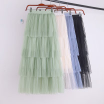 skirt Spring 2020 Average size Mid length dress Versatile High waist Cake skirt Solid color Type A 18-24 years old 71% (inclusive) - 80% (inclusive) knitting polyester fiber Mesh, stitching 201g / m ^ 2 (including) - 250G / m ^ 2 (including)