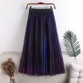 skirt Summer 2020 Average size Purple + blue, green + blue, silver + Red Mid length dress Versatile High waist A-line skirt Solid color Type A 18-24 years old 71% (inclusive) - 80% (inclusive) other polyester fiber Gauze 141g / m ^ 2 (including) - 160g / m ^ 2 (including)