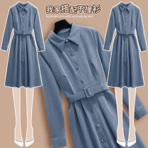 Dress Winter 2020 blue S M L XL Mid length dress singleton  Long sleeves commute Polo collar Elastic waist Solid color Socket A-line skirt routine Others 18-24 years old Type A Bihui (clothing) Korean version Frenulum BH8321 More than 95% other Other 100% Exclusive payment of tmall