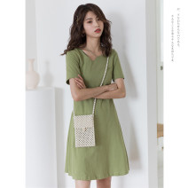 Dress Summer of 2019 Avocado Green Blue Black S M L Mid length dress singleton  Short sleeve commute other High waist Solid color Socket other routine Others 18-24 years old Type A Dingjin (clothing) Korean version 18TX7615 51% (inclusive) - 70% (inclusive) polyester fiber