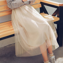 skirt Autumn of 2018 S M L Black apricot Mid length dress commute High waist Pleated skirt Solid color Type A 18-24 years old 18TX4451 51% (inclusive) - 70% (inclusive) Dingjin (clothing) polyester fiber Gauze literature Polyester fiber 60% cotton 35% polyurethane elastic fiber (spandex) 5%