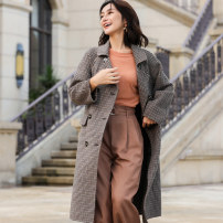 woolen coat Winter of 2019 M L Brown wool 51% (inclusive) - 70% (inclusive) have more cash than can be accounted for Long sleeves Sweet double-breasted routine houndstooth  Self cultivation TPF2021 Jointal / joneta Wool 70% polyester 30% Pure e-commerce (online only) Ruili